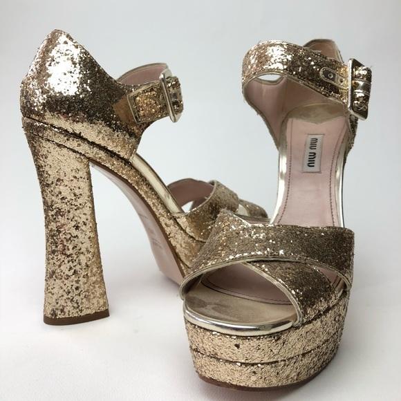 3d51de8d081 Miu miu gold sparkle Mary Janes (Genuine). M 5b5fc2e15098a04b1e4ea527